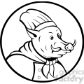 black and white boar chef  gif, png, jpg, eps, svg, pdf