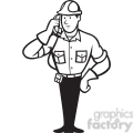 black and white telephone repairman calling phone
