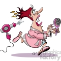 lady getting chased by her hair dryer