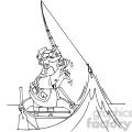 cartoon fisherman in black and white