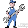 mechanic holding a large wrench