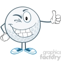 5727 Royalty Free Clip Art Winking Golf Ball Cartoon Character Holding A Thumb Up