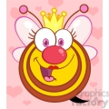 5588 Royalty Free Clip Art Happy Queen Bee Cartoon Mascot Character With Hearts