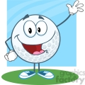 5716 royalty free clip art happy golf ball cartoon character waving for greeting [converted]  gif, png, jpg, eps, svg, pdf