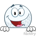 5718 Royalty Free Clip Art Happy Golf Ball Cartoon Character Over Sign