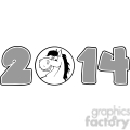 5670 Royalty Free Clip Art 2014 Year Cartoon Numbers With Horse Face Over A Circle