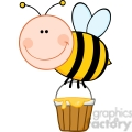 5602 Royalty Free Clip Art Smiling Bee Flying With A Honey Bucket