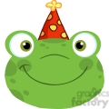5649 Royalty Free Clip Art Cute Frog Smiling Head With Birthday Hat