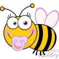 5607 Royalty Free Clip Art Baby Girl Bee Cartoon Mascot Character