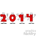 5664 Royalty Free Clip Art 2014 New Year Numbers Cartoon Characters
