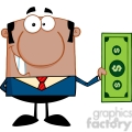 5569 Royalty Free Clip Art Smiling African American Business Man Holding A Dollar Bill