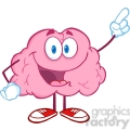 5864 Royalty Free Clip Art Happy Brain Character Pointing With A Finger