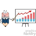 5893 Royalty Free Clip Art Business Pencil Cartoon Character With Pointer Presenting A Progressive Chart