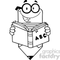 5915 Royalty Free Clip Art Smiling Pencil Teacher Character Reading A Shool Book