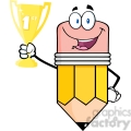 5935 Royalty Free Clip Art Happy Pencil Cartoon Character Holding Golden Trophy Cup