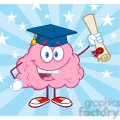 5846 Royalty Free Clip Art Happy Brain Character Graduate Holding up A Diploma