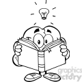 5990 Royalty Free Clip Art Smiling Brain Cartoon Character Reading A Book Under Light Bulb
