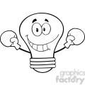 6129 Royalty Free Clip Art Smiling Light Bulb Cartoon Character Wearing Boxing Gloves