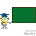 6084 Royalty Free Clip Art Smiling Light Bulb Teacher Character With A Pointer In Front Of Chalkboard