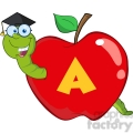 6244 Royalty Free Clip Art Happy Worm In Red Apple With Graduate Cap,Glasses And Leter A