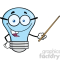 6168 Royalty Free Clip Art Blue Light Bulb Character With Glasses Holding A Pointer