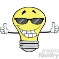 6159 Royalty Free Clip Art Smiling Light Bulb With Sunglasses Giving A Double Thumbs Up