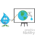 6223 Royalty Free Clip Art Water Drop Character With Pointer Presenting On A Board Earth Globe