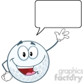 6486 Royalty Free Clip Art Happy Golf Ball Cartoon Character Waving For Greeting With Speech Bubble