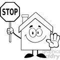 6471 royalty free clip art black and white house cartoon character holding a stop sign  gif, png, jpg, eps, svg, pdf