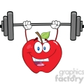 6526 Royalty Free Clip Art Smiling Apple Cartoon Character Lifting Weights