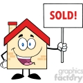 6481 Royalty Free Clip Art House Cartoon Character Holding Up A Blank Sign With Text