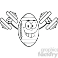 6574 Royalty Free Clip Art Black and White Smiling American Football Ball Cartoon Mascot Character Training With Dumbbells
