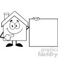 6463 royalty free clip art black and white house cartoon mascot character showing a blank sign  gif, png, jpg, eps, svg, pdf