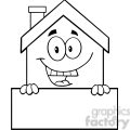 6459 Royalty Free Clip Art Black and White House Cartoon Mascot Character Over Blank Sign