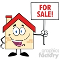 6482 Royalty Free Clip Art House Cartoon Character Holding Up A Blank Sign With Text