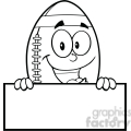 6579 royalty free clip art black and white american football ball cartoon mascot character over blank sign gif, png, jpg, eps, svg, pdf