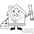 6457 royalty free clip art black and white house worker with blueprint and tool box  gif, png, jpg, eps, svg, pdf