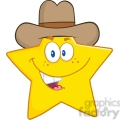 6717 Royalty Free Clip Art Smiling Star Cartoon Mascot Character With Cowboy Hat