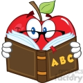 6523 Royalty Free Clip Art Smiling Apple Teacher Character Reading A Book