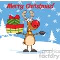 6685 Royalty Free Clip Art Merry Christmas Greeting With Rudolph Reindeer Holding Up A Stack Of Gifts