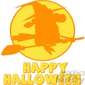 6634 Royalty Free Clip Art Happy Halloween Greeting With Witch Ride A Broom Silhouette