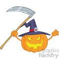 6636 Royalty Free Clip Art Scaring Halloween Pumpkin With A Witch Hat And Scythe Cartoon Illustration