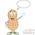 6598 Royalty Free Clip Art Happy Peanut Cartoon Mascot Character Waving For Greeting With Speech Bubble