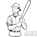 baseball batting stance black white  gif, png, jpg, eps, svg, pdf