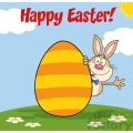 Royalty Free RF Clipart Illustration Happy Easter From Rabbit Cartoon Character Waving Behinde Egg
