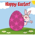 Royalty Free RF Clipart Illustration Happy Easter From Pink Rabbit Cartoon Character Waving Behinde Egg