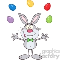 Royalty Free RF Clipart Illustration Cute Gray Rabbit Cartoon Character Juggling With Easter Eggs