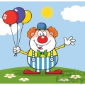 Royalty Free RF Clipart Illustration Funny Clown Cartoon Character With Balloons And Waving On Meadow