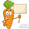 Royalty Free RF Clipart Illustration Funny Carrot Cartoon Character Holding A Wooden Board