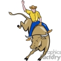 rodeo cowboy bull riding front